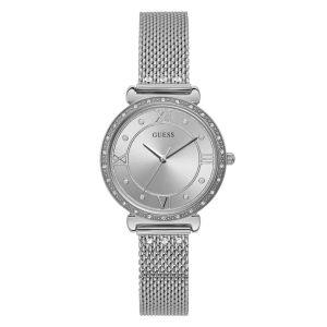 Montre Guess W1289L1 - JEWEL Boîtier acier brillant avec cristaux cadran argenté avec cristaux bracelet maille milanaise acier avec cristaux  Femme