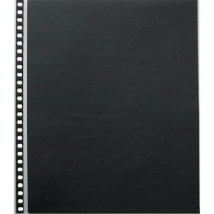 10 pochettes multi-perforées en polypropylène Cristal Laser avec feuillets noirs - 28x35cm