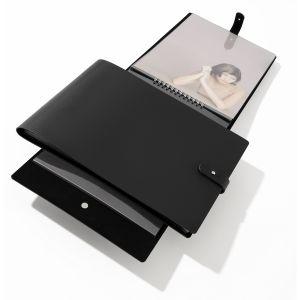 Book à spirale PAMPA, noir, format paysage + 20 pochettes Cristal Laser - 24x32cm