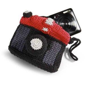 Etui photo en crochet - Noir et rouge