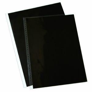 10 pochettes multi-perforées en polyester avec feuillets perforés noirs - 28x35cm
