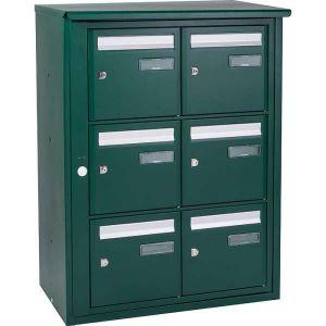 Bloc boîte aux lettres collective extérieur - B6 en applique- Languedoc standard - Vert mousse (Couleur) - Decayeux