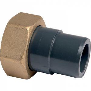 Raccord union PVC pression noir droit - F 1'1/2 - Mâle Ø 40 mm - Girpi