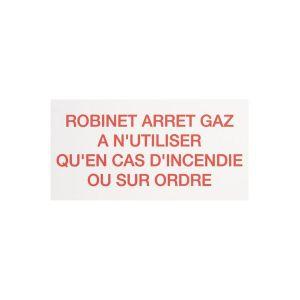 Étiquette plastique rigide rectangulaire - robinet arret gaz - Coditherm
