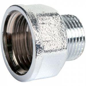 Raccord laiton chromé hexagonal réduit à visser - M 3/4' - F 1' - Riquier