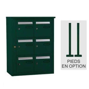 Bloc boîte aux lettres collective extérieur - B6 sur pieds - Languedoc standard - Vert mousse (Couleur) - Decayeux