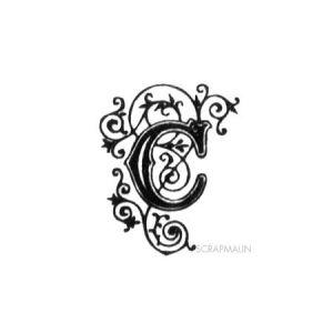 Tampon bois - Alphabet arabesque C - 2,3 x 1,9 cm