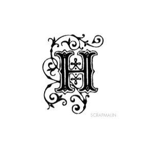 Tampon bois - Alphabet arabesque H - 2,4 x 2 cm