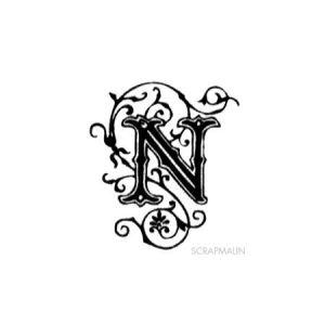 Tampon bois - Alphabet arabesque N - 2,4 x 2 cm