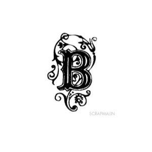 Tampon bois - Alphabet arabesque B - 2,4 x 1,4 cm