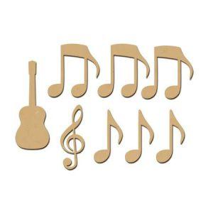 Sujet en bois médium - Ass.Guitare sèche et notes - 5 x 1,9 cm la guitare - 8 pcs
