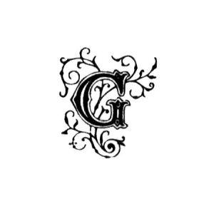 Tampon bois - Alphabet arabesque G - 2,2 x 2,2 cm