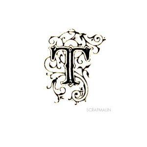 Tampon bois - Alphabet arabesque T - 2,3 x 2 cm