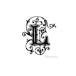 Tampon bois - Alphabet arabesque L - 2,4 x 2 cm