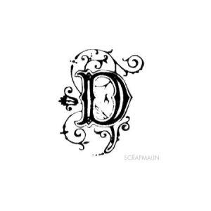 Tampon bois - Alphabet arabesque D - 2,3 x 1,9 cm