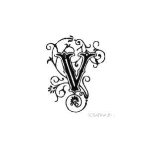 Tampon bois - Alphabet arabesque V - 2,4 x 1,9 cm