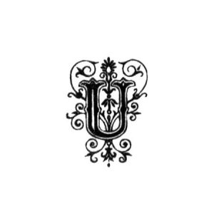 Tampon bois - Alphabet arabesque U - 2,4 x 1,8 cm