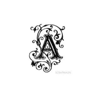 Tampon bois - Alphabet arabesque A - 2,4 x 1,8 cm