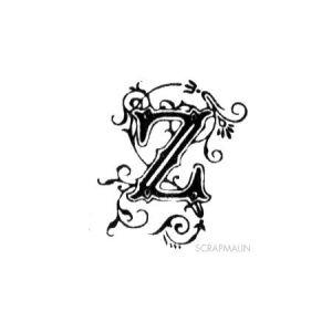 Tampon bois - Alphabet arabesque Z - 2,1 x 2 cm