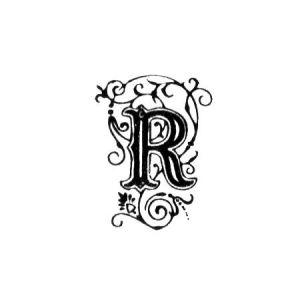 Tampon bois - Alphabet arabesque R - 2,4 x 1,7 cm