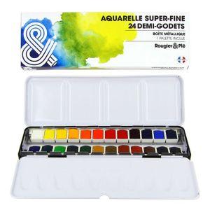 Boîte métal avec 24 demi-godets d'aquarelle super-fine