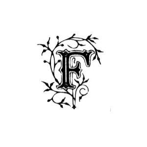 Tampon bois - Alphabet arabesque F - 2,3 x 2 cm