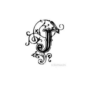 Tampon bois - Alphabet arabesque J - 2,3 x 2 cm