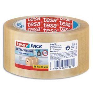 Ruban adhésif d'emballage en PVC Tesa 5717 - transparent - 50 mm x 66 m - 65 microns - se déchire à la main