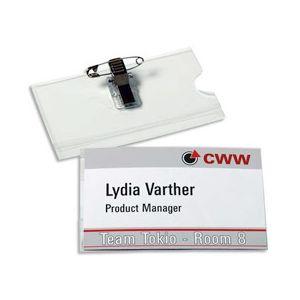 Badge transparent pince + épingle - format horizontal 5,4 x 9 cm - boite de 50