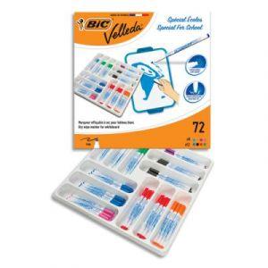 Classpack de 72 feutres effaçables Bic VELLEDA, mine 1 mm, 8 couleurs assorties