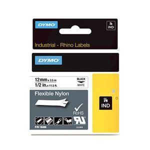 Ruban nylon flexible Dymo D1 - noir/blanc - 12 mm x 3,5 m