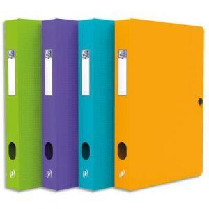 Boîte de classement Elba Boxing - polypropylène 7/10è - dos 40 mm - format 24 x 32 cm - coloris assortis Pastel : Ciel, émeraude, lilas, fuschia, maïs.