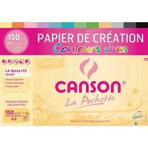 Papier de Création Canson -  21 x 29,7 cm - 150g - assortiment de couleurs vives - pochette de 12 feuilles