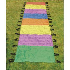 Parachute chenille First Loisirs - polyerster multicolore - l8 m x p1 m - 34 poignées - livré dans un sac