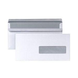 Enveloppes 110 x 220 mm neutres - fenêtre 35x100 - blanches - autocollantes - 80 g - boîte de 500