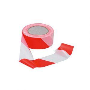 Ruban de signalisation universel polypropylène rouge et blanc 50 mm x 66 m 58134 - Ruban