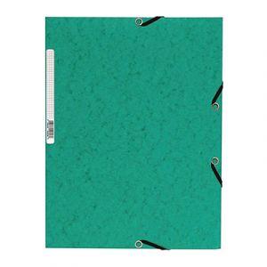 Chemise 3 rabats cartonnée Qualité Plus - vert foncé