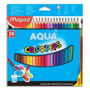 Crayons de couleur aquarellables Maped Color'Peps - boîte de 24 + 1 pinceau offert