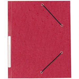 Chemise 3 rabats cartonnée Qualité Plus - rouge