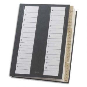 Trieur alphabétique 24 compartiments noir - couverture rigide plastifiée - dos extensible