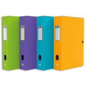 Boîte de classement Elba Boxing - polypropylène 7/10è - dos 80 mm - format 24 x 32 cm - coloris assortis Pastel : Ciel, émeraude, lilas, fuschia, maïs