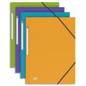 Chemise 3 rabats à élastiques - polypropylène opaque 5/10ème - format 24x32cm - Coloris Pastel assortis : bleu lavande, violet, vert anis et jaune