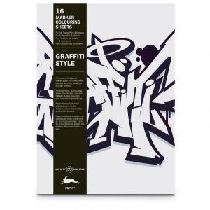 Bloc Graffiti style prédessiné spécial marqueurs, 25 x 34,5 cm - 150 g/m², 25 cm x 34,5 cm, 150 g/m²