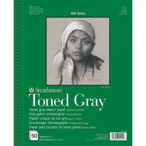 Bloc Esquisse teinté Série 400 Strathmore - gris, 22,9x30,5cm, 50 feuilles