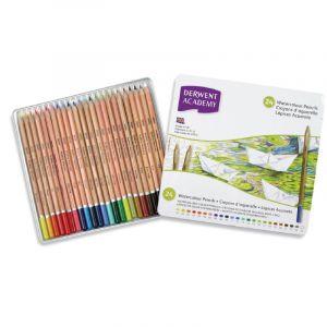 Coffrets Derwent Academy - crayons aquarellables, 24 crayons, Couleurs assorties