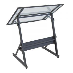 Table à dessin Solano, gris / transparent