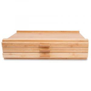 Coffret de rangement en bois de hêtre pour les pastels, 40 x 25 x 8cm, 3 tiroirs