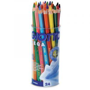 Lots de crayons de couleur Giotto Mega, 24 crayons