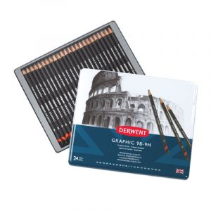 Coffret de Crayons Derwent Graphic, 24 Crayons (9H à 9B), 24 crayons 9H a 9B 19x23x1,2