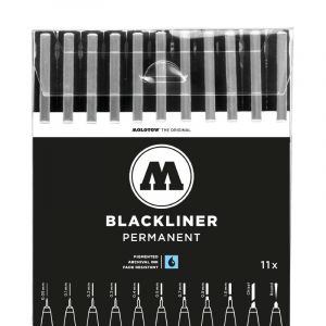 Set de 11 feutres Basic Blackliner Molotow, Set de 11 feutres